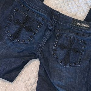 Affliction Sinful Jade cross bootcut jeans
